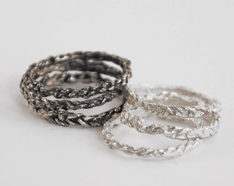 set delicate silver crochet stacking rings (set of 3)