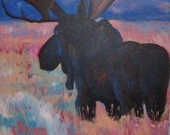 Moose acrylic on canvas 90x90cm
