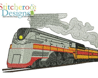 Steam Train 2 Design -In Hoop sizes3x3, 4x4, 5 Wide- Instant Download - for Embroidery Machines