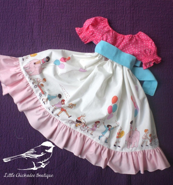 4T/5 Parade Joys' Twirly Dress Girls dress Pink dress Sunday dress Summer Dress Peasant dress Ready to ship Whimsical dress