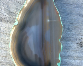 Brazilian Agate Magnet, Geode Slice, Hand Painted Mint Green Edge