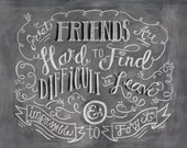 Friends Hand Lettered Chalk Art, Chalk Art, Chalkboard Art, Motivational Art, Motivation