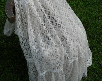 Large 8' Hungarian Vintage Ecru Lace Curtain panel with ruffle Fringes