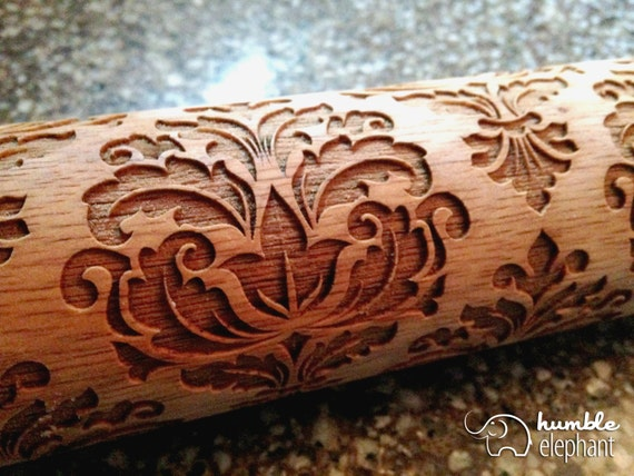 Damask Pattern Laser Cut Wooden Embossing By Humbleelephant