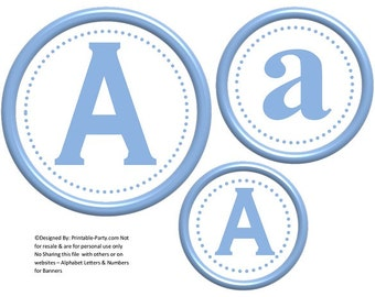 6 Inch Circle Baby Blue Printable Banner Letters