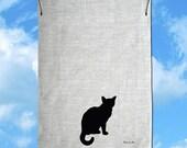 Little Cat Silhouette Hand Screen Printed Pure Linen Tea Towel Free Shipping Australia Wide
