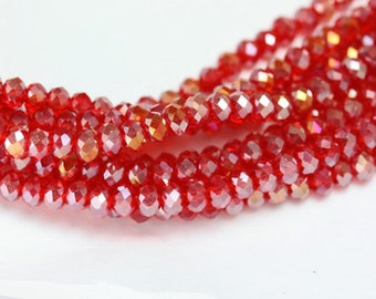 "Jewelry Beads Strands,Crystal Glass,Faceted rondelle, Electroplate Plated,RedAB,3.5x3mm, Hole: 1mm, 15.5""-MCCR0083"