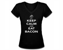 Keep calm and eat bacon funny parody black v neck women silk printed t shirt
