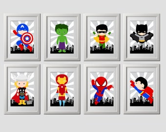 Superhero wall art prints, super hero, set of 8 HIGH quality prints, shipped to your door, standard 8x10 inch each, superhero nursery