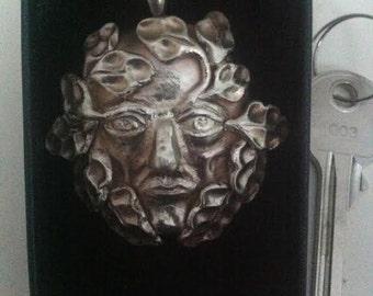Silver Green Man Pendant