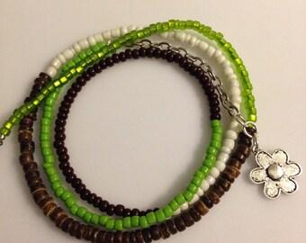 Seed Bead Wrap Bracelet with charm, Green, white, brown, silver heart, Boho Wrap Bracelet, CHOOSE your CHARM!