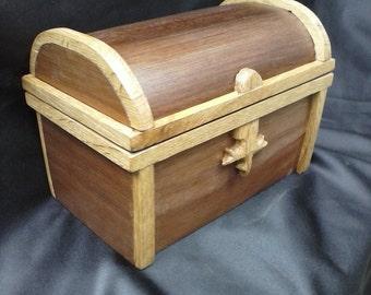 black walnut with white oak treasure chest keepsake wood box