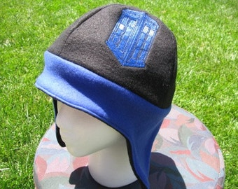 Tardis Doctor Who Inspired Blue and Black Fleece Ear Flap Hat