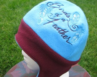 REVERSIBLE Feathers and Birds of a Feather Fleece Ear Flap Hat