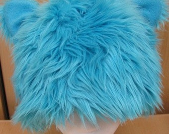 Long Elegant Blue Faux Fur Hat with Ears and a Fleece Lining