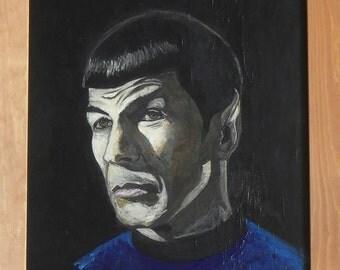 """Mr. Spock, Star Trek Painting 16"""" X 12"""""""
