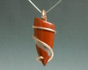 Red Jasper Cold Forged Copper Pendant