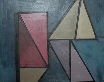 1992 Avant garde cubist suprematist Oil Painting, Signed