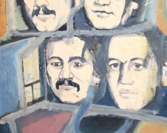 Vintage Abstract Oil Painting Portrait Faces