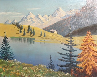 Vintage oil painting impressionist lake view signed