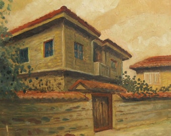 1949 Impressionist oil painting landscape house signed
