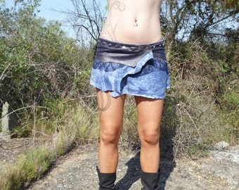 mini skirt blue Pacific leather free shipping!