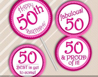 Printable 40th Birthday Cupcake Toppers Big 4 0 Red Black
