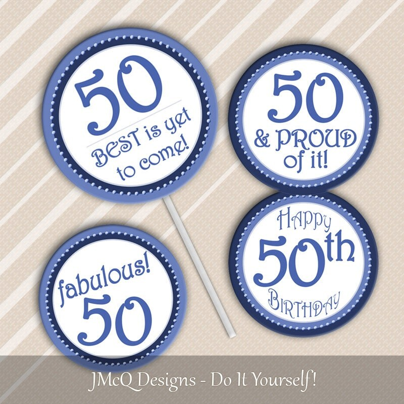 Printable 50th Birthday Cupcake Toppers Fiftieth BD Party