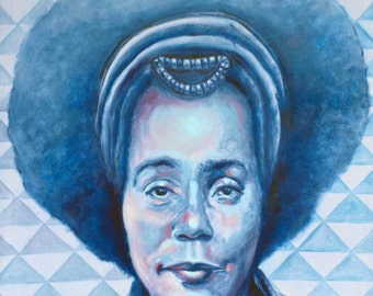 QUEEN KING, an original interpretation of Coretta Scott King, oil painted original or hand-signed print