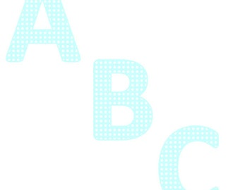 Baby Blue Alphabet with White Polka Dots Clipart