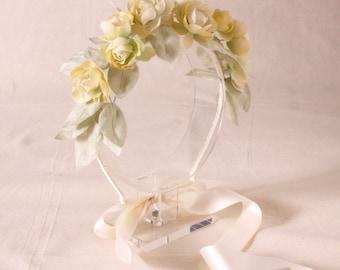 Bridal hand dyed silk flower headband, hairpiece - Flower headband, Ready to Ship