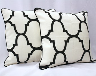 Kravet  Riad Jet Pattern Black & White Cotton Pillow Cover