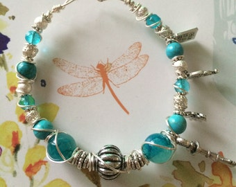 Beautiful Silver Hand Wire Wrapped Duck Egg Blue & Turquoise Keepsake Bracelet. With Four Special charms.