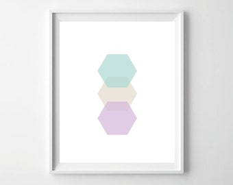 Printable Art Print Geometric Wall Art Pastel Home Decor Digital Modern Wall Art Hexagon Wall Art Minimalist Print Instant Download Print