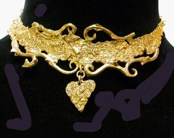 """French Necklace Choker """"I Heart You"""" Bronze"""