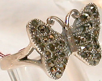 "French Ring ""Butterfly 2"" Silver Marcassite"