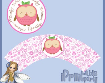 Baby Shower Printable Pink Owl Cupcake Wrapper & Topper
