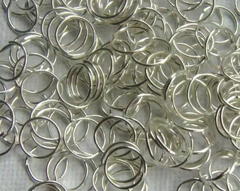 150 Open Jump Rings 8mm Silver Plated