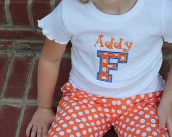Baby Toddler Girls Florida Gators College University Shirt or Onesie football clothes personalized with name