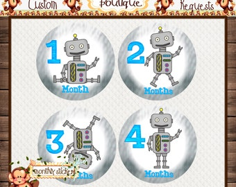 Robots Monthly Baby Milestone Stickers Baby Shower Gift Bodysuit Baby Stickers Monthly Baby Stickers Baby Month Sticker {M191B}