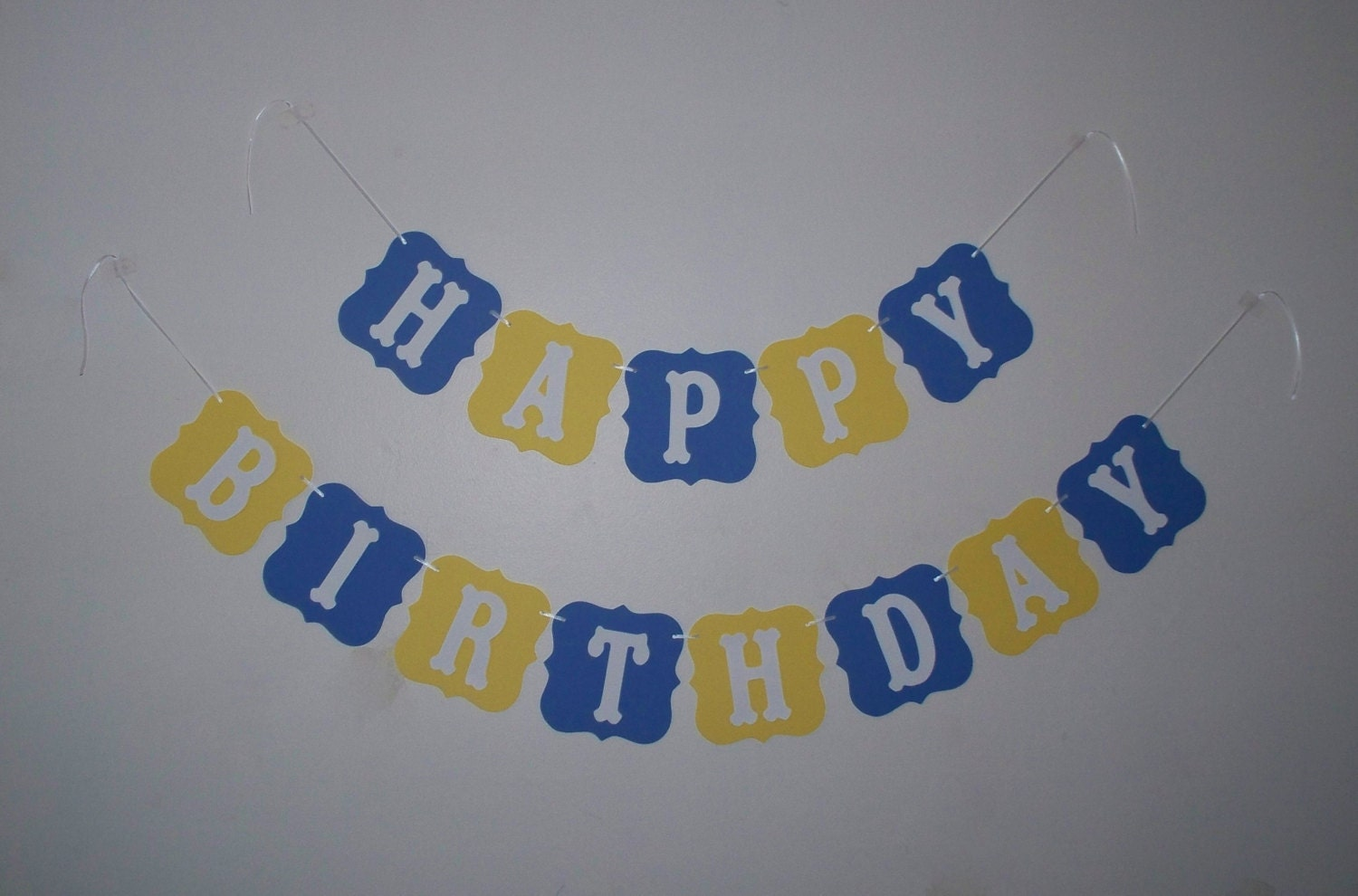 happy birthday banner blue and yellow cardstock by bbgarlands