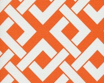 Boxed In Tangerine Tango Orange Indoor Outdoor contemporary Fabric