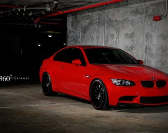 Poster of BMW E92 M3 Right Front Red on 360 Forged wheels HD print