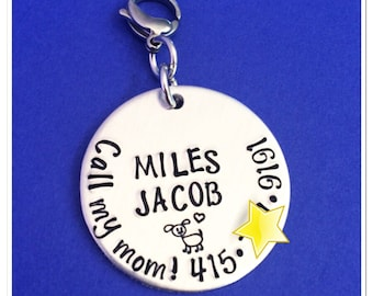 Hand Stamped Pet Swag - Personalized Pet ID Tag - Hand Stamped Jewelry