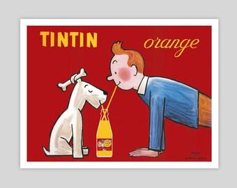 Tintin Orange Soda Vintage Poster