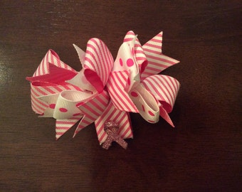 Pink breast cancer awareness child hair clip