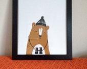 Birdwatching Bear Print