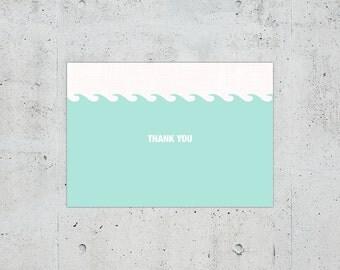 Nautical Wedding Thank You Card | Printable DIY | Color Customizable