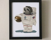 Cute Sloth Astronaut 8x10 Art Print