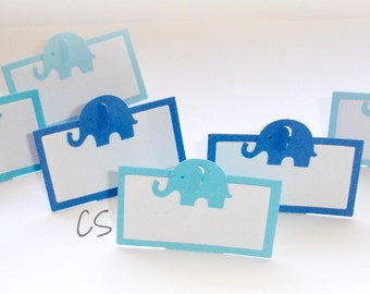 Mixed Blue Elephant Place Cards, Table Decoration-Set of 12 pcs